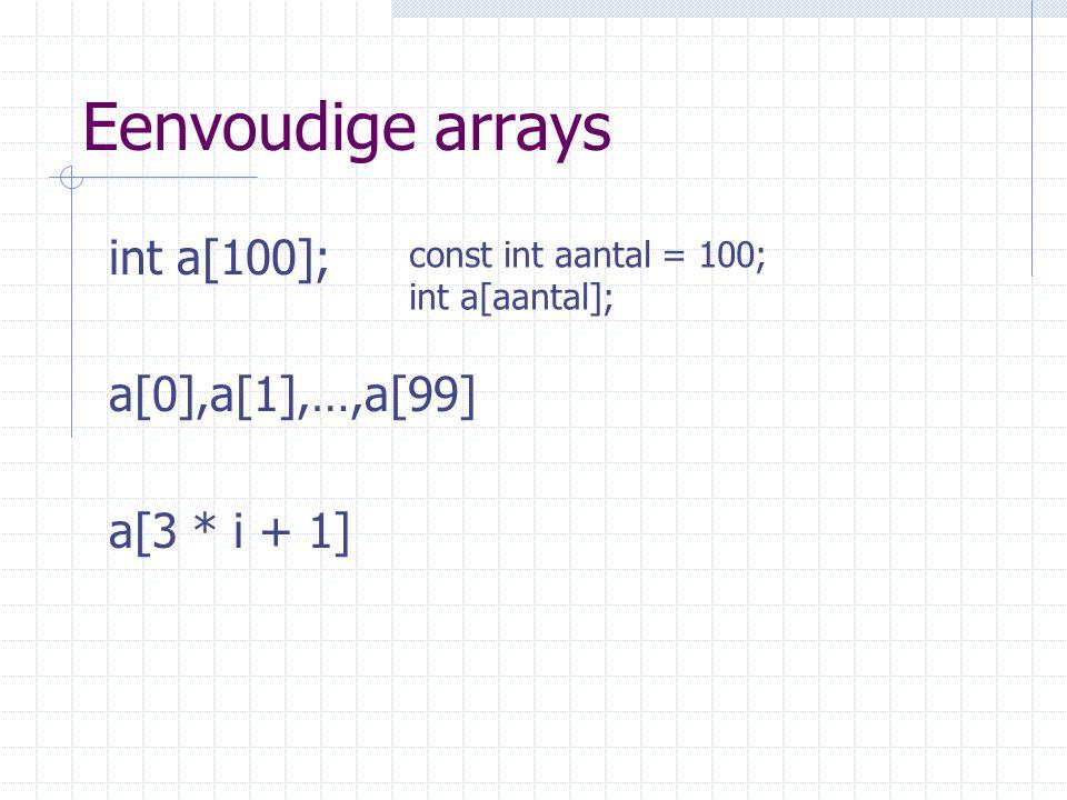 Eenvoudige arrays int a[100]; a[0],a[1],…,a[99] a[3 * i + 1]